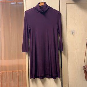 maroon mock neck shift dress